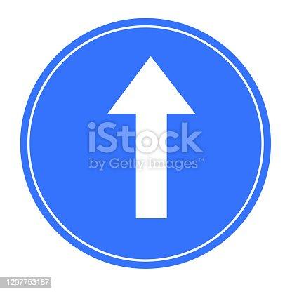Go straight traffic sign symbol