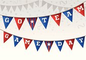 Go team game day flag banner with confetti background. EPS 10 file. Transparency effects used on highlight elements.