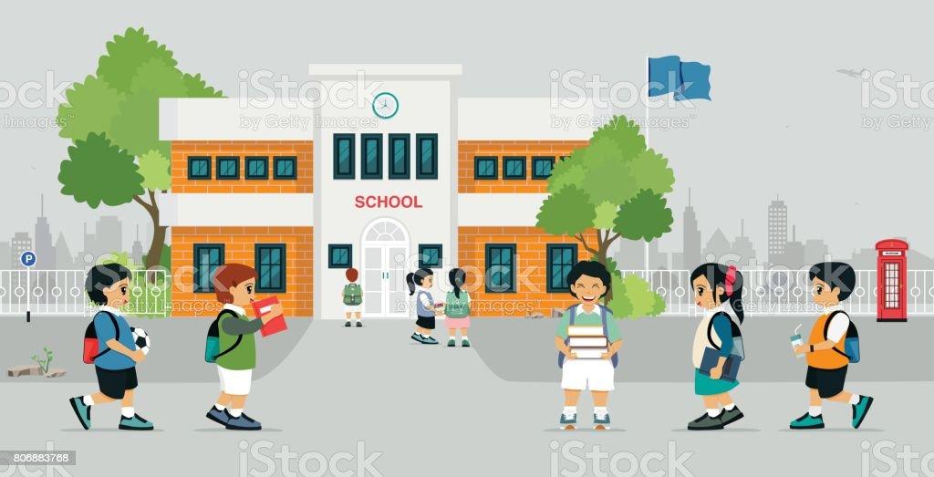 Go to school vector art illustration