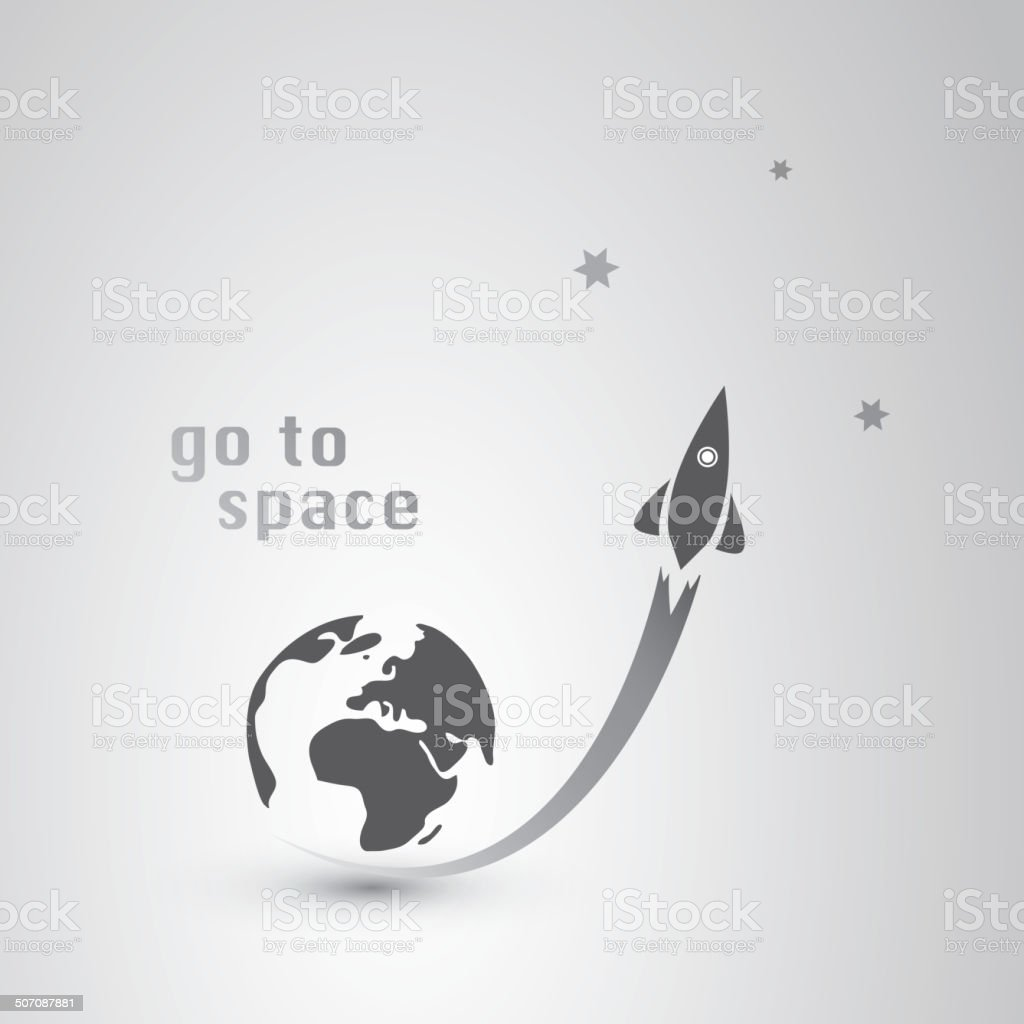 Go to Space Icon vector art illustration