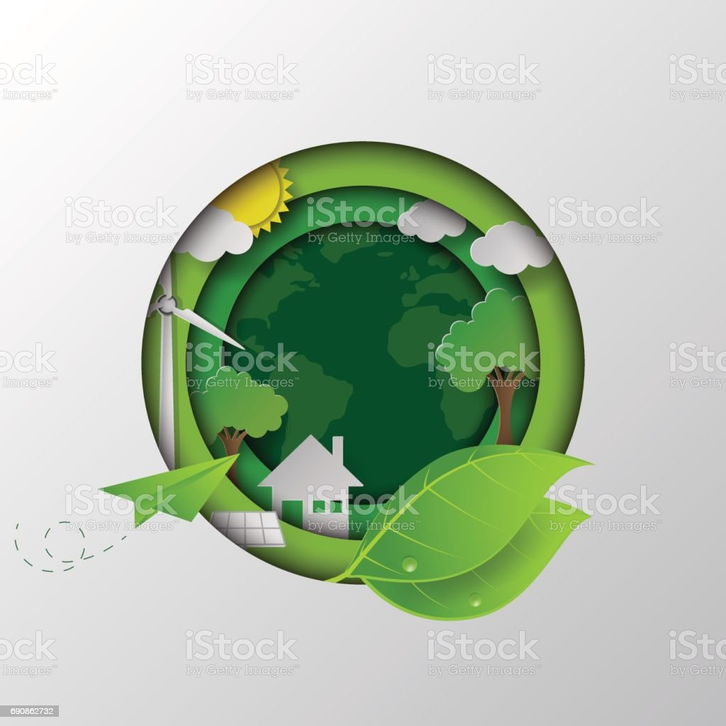 Go to the green earth. vector art illustration