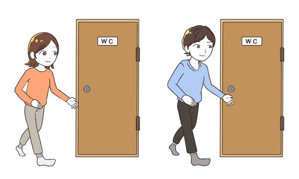 トイレに行く ベクターアートイラスト