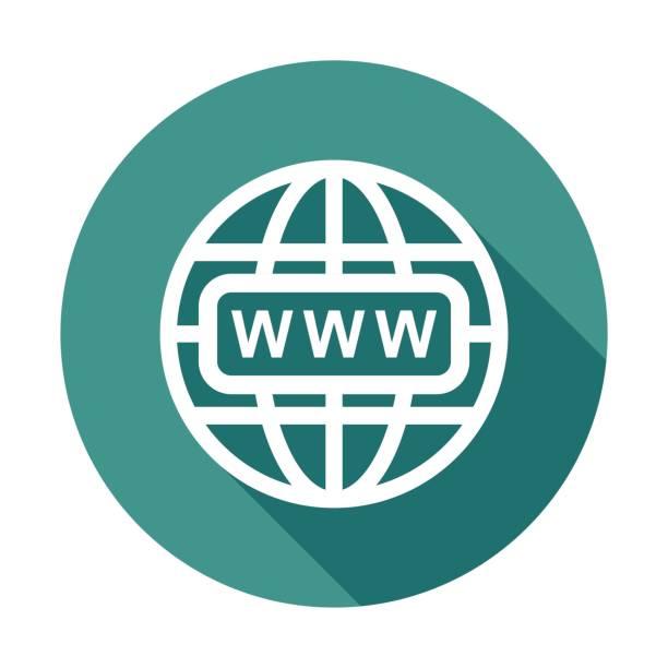 illustrations, cliparts, dessins animés et icônes de allez à l'icône web. internet plate illustration vectorielle pour site sur fond rond avec une ombre. - www