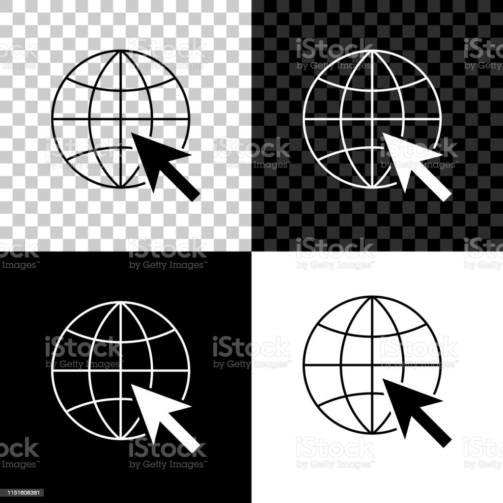 Go To Web Icon Isolated On Black White And Transparent