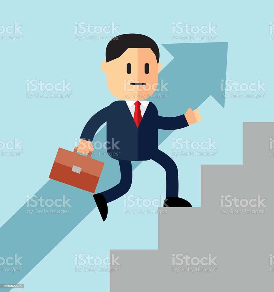 Go up concept, Career ladder, Businessman with suitcase Lizenzfreies go up concept career ladder businessman with suitcase stock vektor art und mehr bilder von aktenmappe