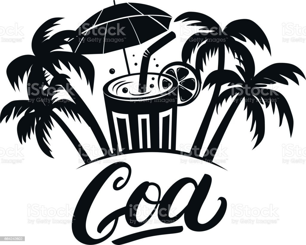 Goa hand written lettering with palms and cocktails. vector art illustration