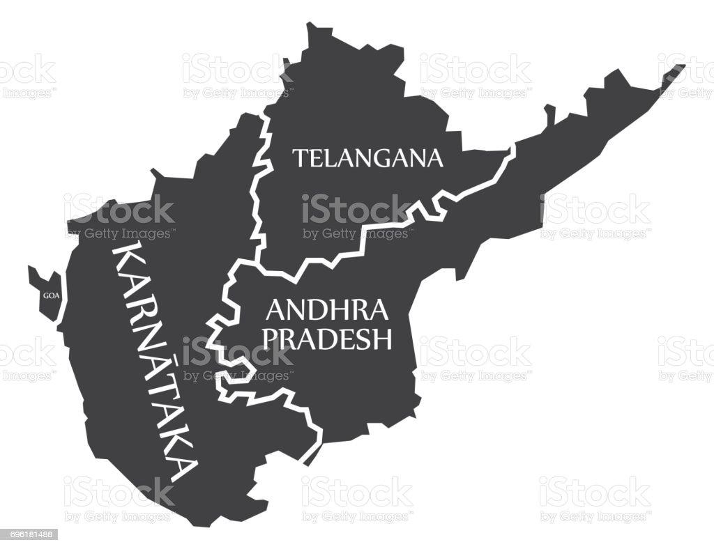 Goa Karnataka Telangana Andhra Pradesh Map Illustration Of Indian ...