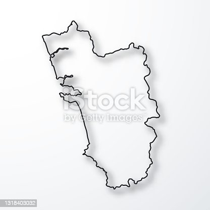 istock Goa map - Black outline with shadow on white background 1318403032