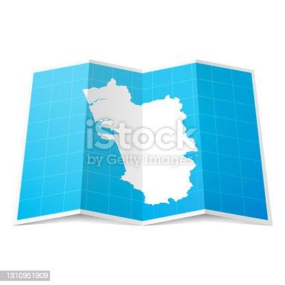 istock Goa map folded, isolated on white background 1310951909