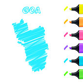 istock Goa map hand drawn with blue highlighter on white background 1336249468