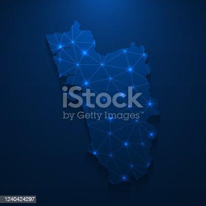 istock Goa map network - Bright mesh on dark blue background 1240424297