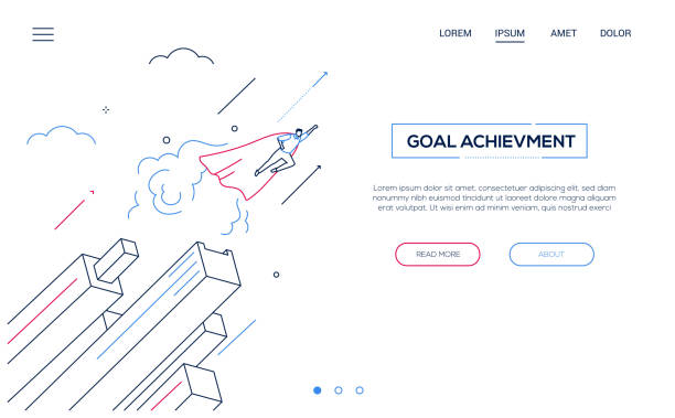 Zielerreichung - Liniendesign Stil isometrische web banner – Vektorgrafik