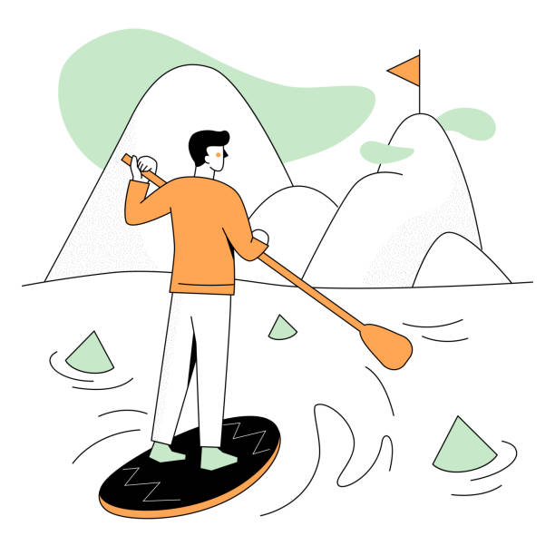 Goal achievement - modern flat design style illustration vector art illustration
