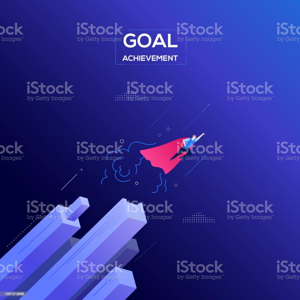 Zielerreichung - moderne isometrische Vektor-Web-banner – Vektorgrafik