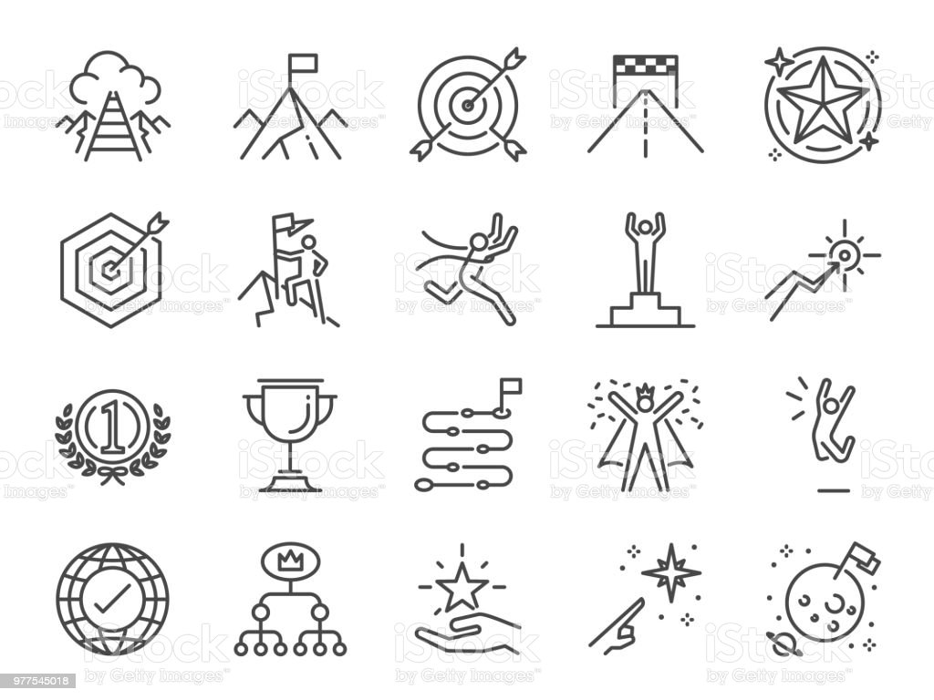 Goal and achievement icon set. Included the icons as achieve, success, target, roadmap, finish, celebrate, happy and more