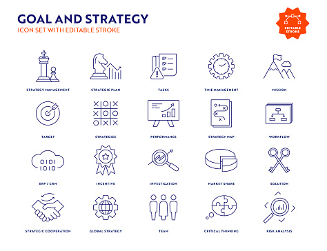 Goal and Strategy Line Icon Set with Editable Stroke