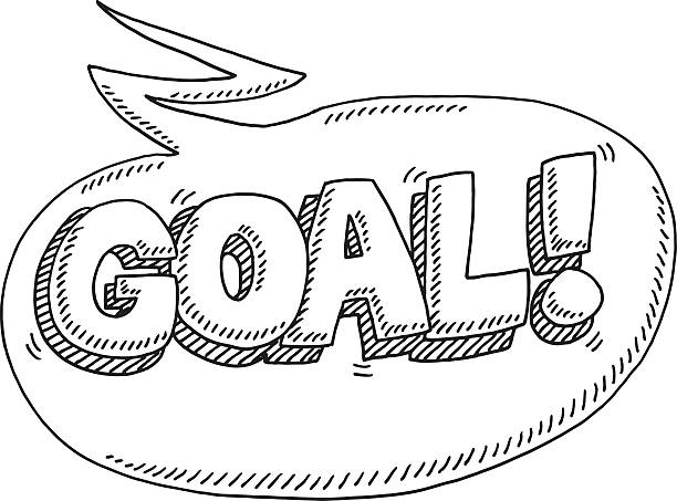 Goal! Celebration Speech Bubble Drawing Hand-drawn vector drawing of a Goal! Celebration Speech Bubble. Black-and-White sketch on a transparent background (.eps-file). Included files are EPS (v10) and Hi-Res JPG. sport stock illustrations