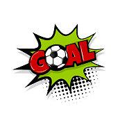 Goal comic text white background