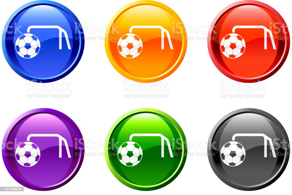 Goal icon in 6 colors against a white background royalty-free stock vector art