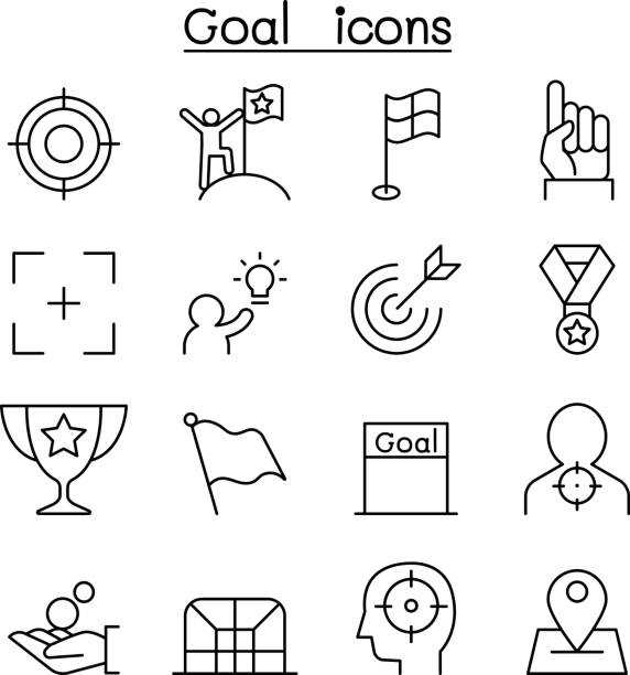 Goal icon set in thin line style Goal icon set in thin line style bonus march stock illustrations