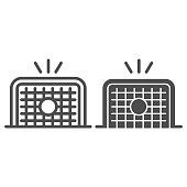 istock Goal line and solid icon. Soccer goal, kicked soccer ball in gate symbol, outline style pictogram on white background. Sport sign for mobile concept and web design. Vector graphics. 1213307992
