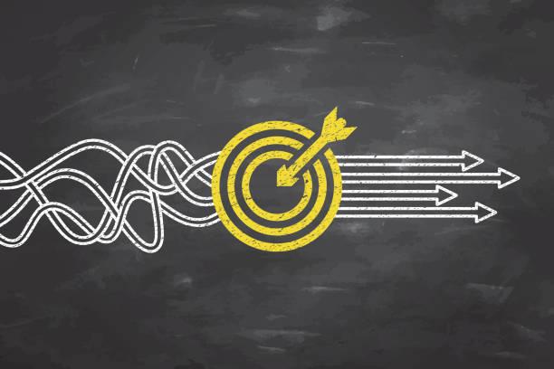 pojęcia dotyczące rozwiązania celu w tle tablicy - aspiracje stock illustrations
