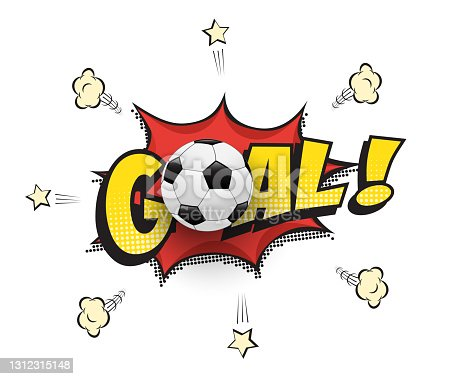 istock Goal word with football ball in cartoon or comic book style. Soccer match vector illustration. 1312315148