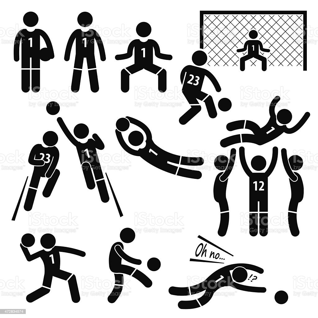 Actions de gardien de but de Football Soccer Bâton Figure Pictogram icônes - Illustration vectorielle