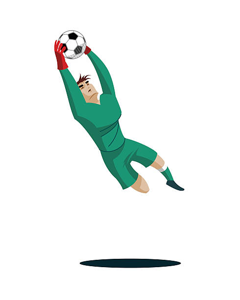 goalkeeper catches the ball and protect. - fußballkunst stock-grafiken, -clipart, -cartoons und -symbole