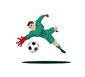 Goalkeeper catches the ball and protect.
