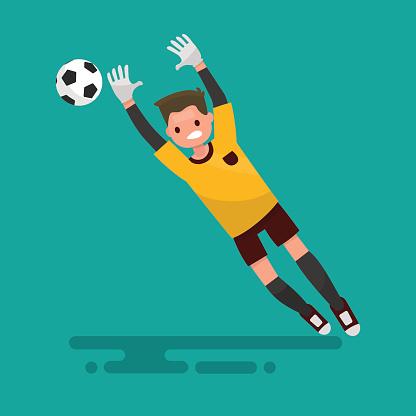 Goalkeeper catches the ball. Football. Vector illustration