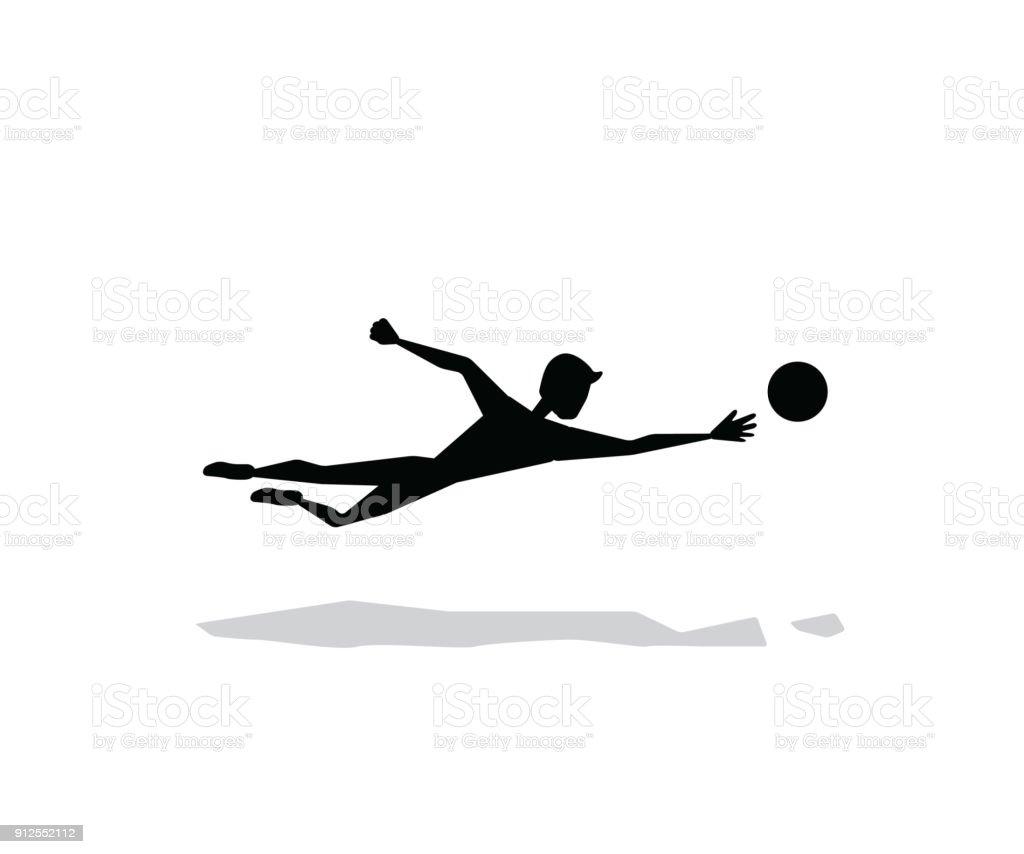 goalkeeper getting the ball silhouette cartoon design vector art illustration