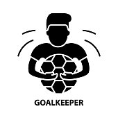 istock goalkeeper icon, black vector sign with editable strokes, concept illustration 1290251523