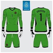 Goalkeeper jersey or soccer kit, long sleeve jersey, goalkeeper glove template design.