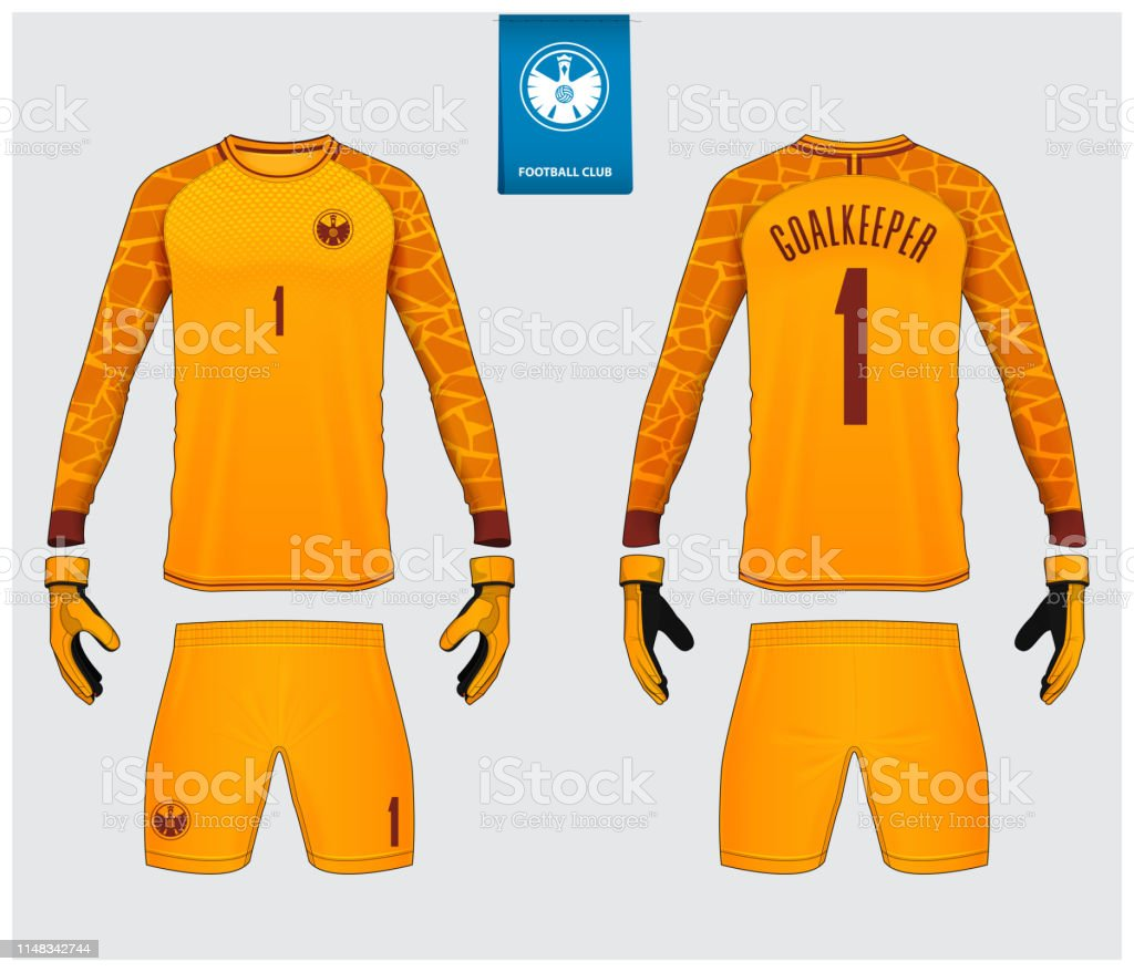 Goalkeeper Jersey Or Soccer Kit Mockup Goalkeeper Glove And Long Sleeve Jersey Template Design Sport Tshirt Mock Up Front And Back View Soccer Uniform