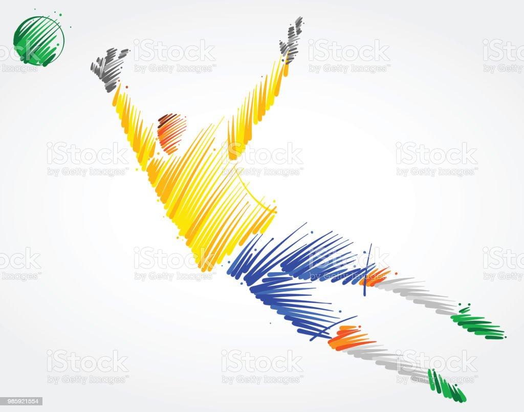 Goalkeeper Trying To Catch The Ball Stock Illustration - Download