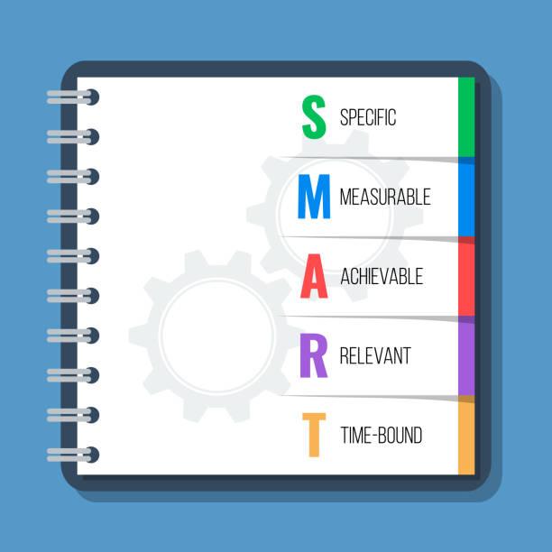smart-ziele, flache style-vektor-konzept - lebensziel stock-grafiken, -clipart, -cartoons und -symbole