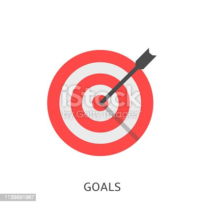 Goals. Red target with arrow, achievement concept Vector illustration