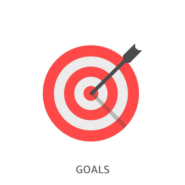 Goals icon Vector Goals. Red target with arrow, achievement concept Vector illustration bull's eye stock illustrations