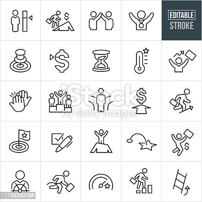 A set of goals icons that include editable strokes or outlines using the EPS vector file. The icons include several different goal meters as well as people accomplishing goals. They include targets, business person climbing mountain, person receiving award, an hour glass to represent time sensitive, a high five, a winners podium with winner, business person moving up, climbing the ladder, checkmark, person atop a mountain, business person at helm of ship, person winning race and a businessman climbing a bar graph.