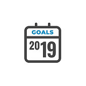 2019 Goals Vector graphic with the year 2019 and artistically styled images