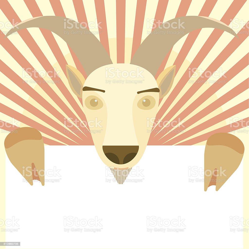 Goat Animal holding white blank symbol of New Year 2015 vector art illustration