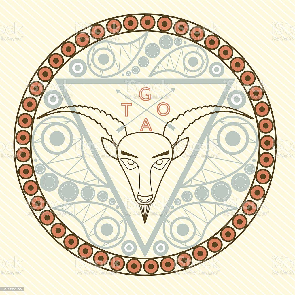 Goat Animal symbol of New Year 2015 round frame vector art illustration