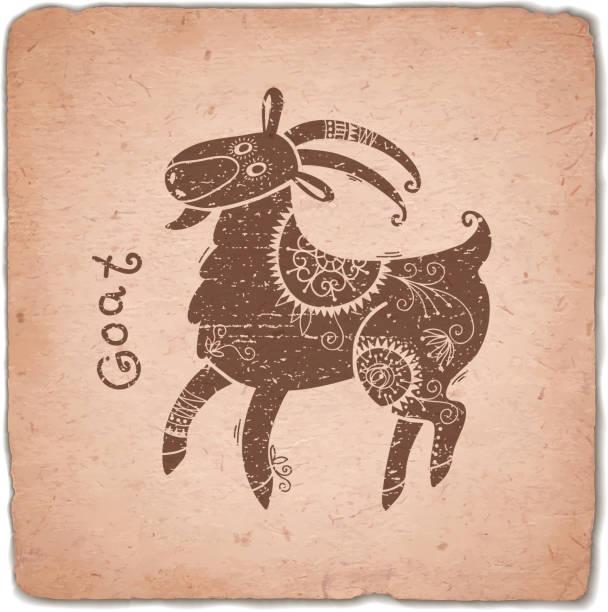 ヤギます。干支 horoscope ヴィンテージカード - 野生動物のカレンダー点のイラスト素材/クリップアート素材/マンガ素材/アイコン素材