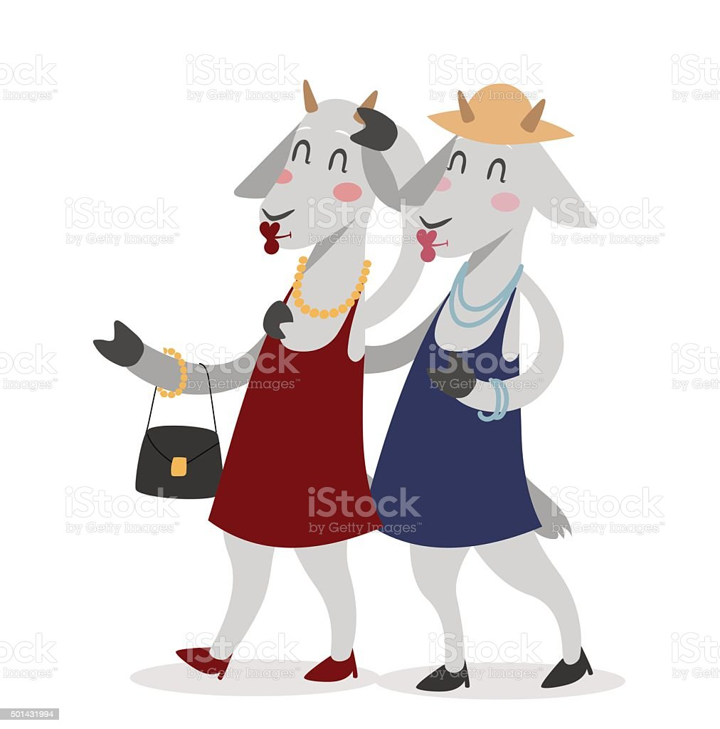 Goat girls couple friends vector portrait illustration on white background vector art illustration