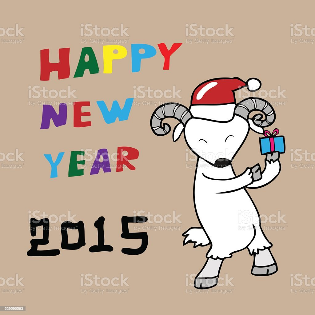goat happy new year 2015 gift royalty free goat happy new year 2015 gift stock