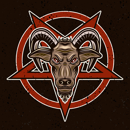 Goat head and pentagram vector illustration in colorful style on dark background