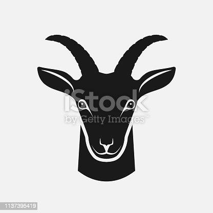 Goat head black silhouette. Farm animal icon. vector illustration - eps 8