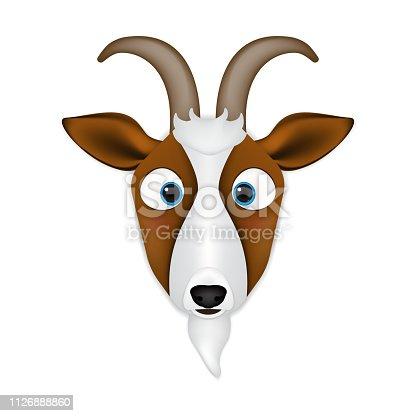 Goat head cartoon vector