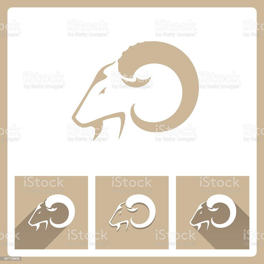 Koza Głowa ikony – artystyczna grafika wektorowa